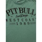 PitBull West Coast - pánské triko DENIM WASHED OLDSCHOOL zelené