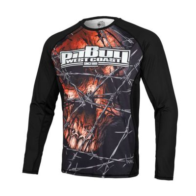 PitBull West Coast - Pánský Rashguard L.S. Mesh Performance WIRED SKULL
