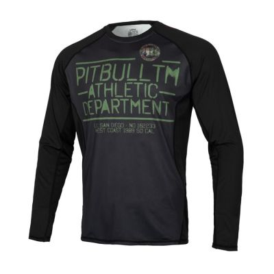PitBull West Coast - Pánský Rashguard L.S. Mesh Performance WOODLAND LOGO