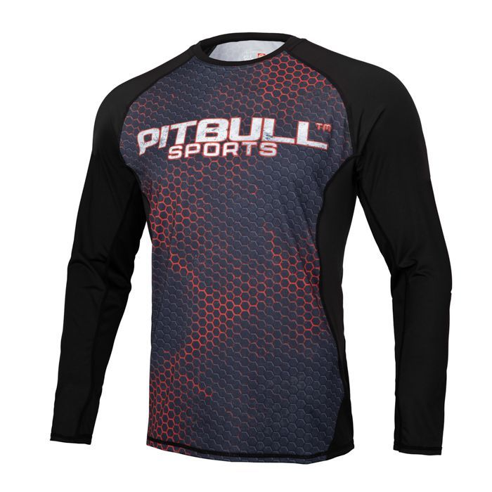 PitBull West Coast - Pánský Rashguard L.S. Mesh Performance IRON LOGO