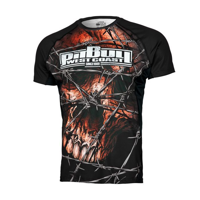 PitBull West Coast - Pánský Rashguard Mesh Performance WIRED SKULL