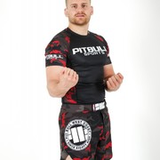 PitBull West Coast - Pánské grappling shorts CAMO RED