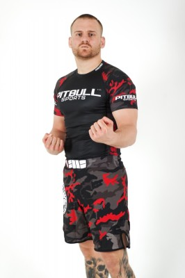 PitBull West Coast - Pánské grappling shorts MESH CAMO RED