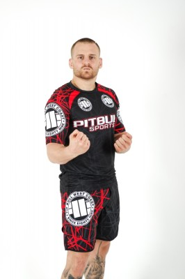 PitBull West Coast - Pánské grappling shorts MESH RED RAY