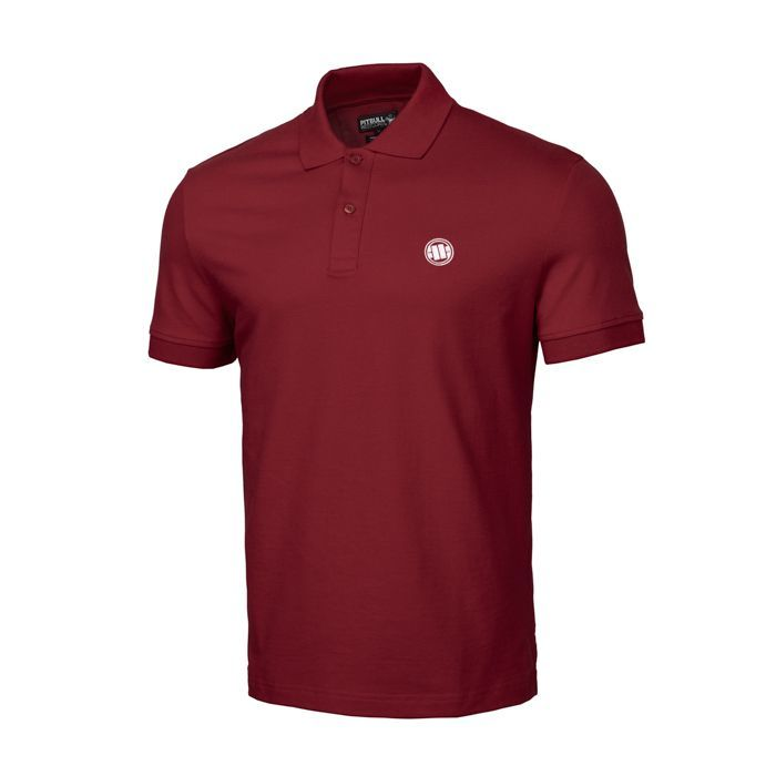 PitBull West Coast - pánské triko POLO CIRCLE LOGO burgundy